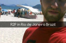 male wearing r2p shirt on brazil beach