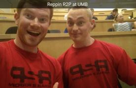 2 males wearing r2p shirts